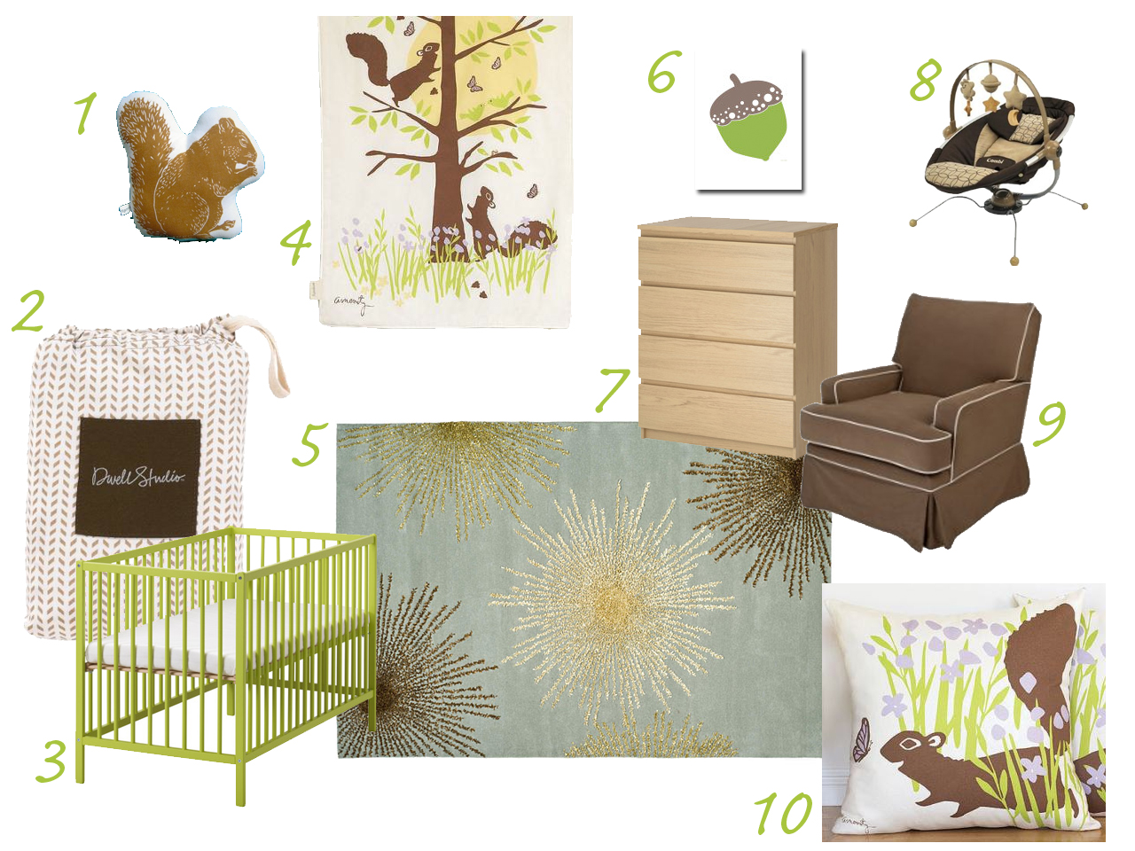 brown and green nursery with squirrel theme Amenity Combi Pod Avalisa DwellStudio