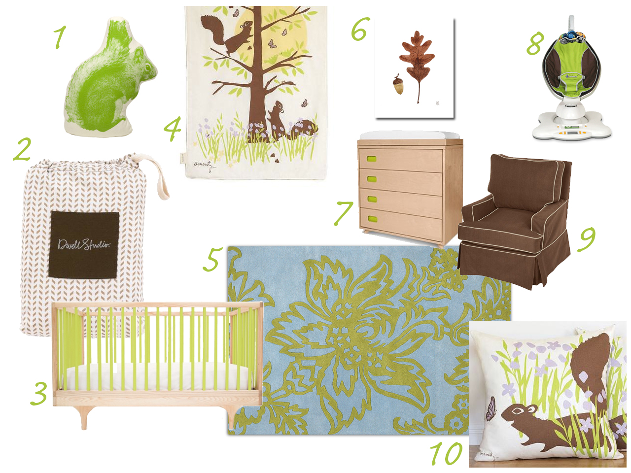 Green and brown and squirrels nursery Kalon Caravan DwellStudios Amenity Amy Butler Tulip