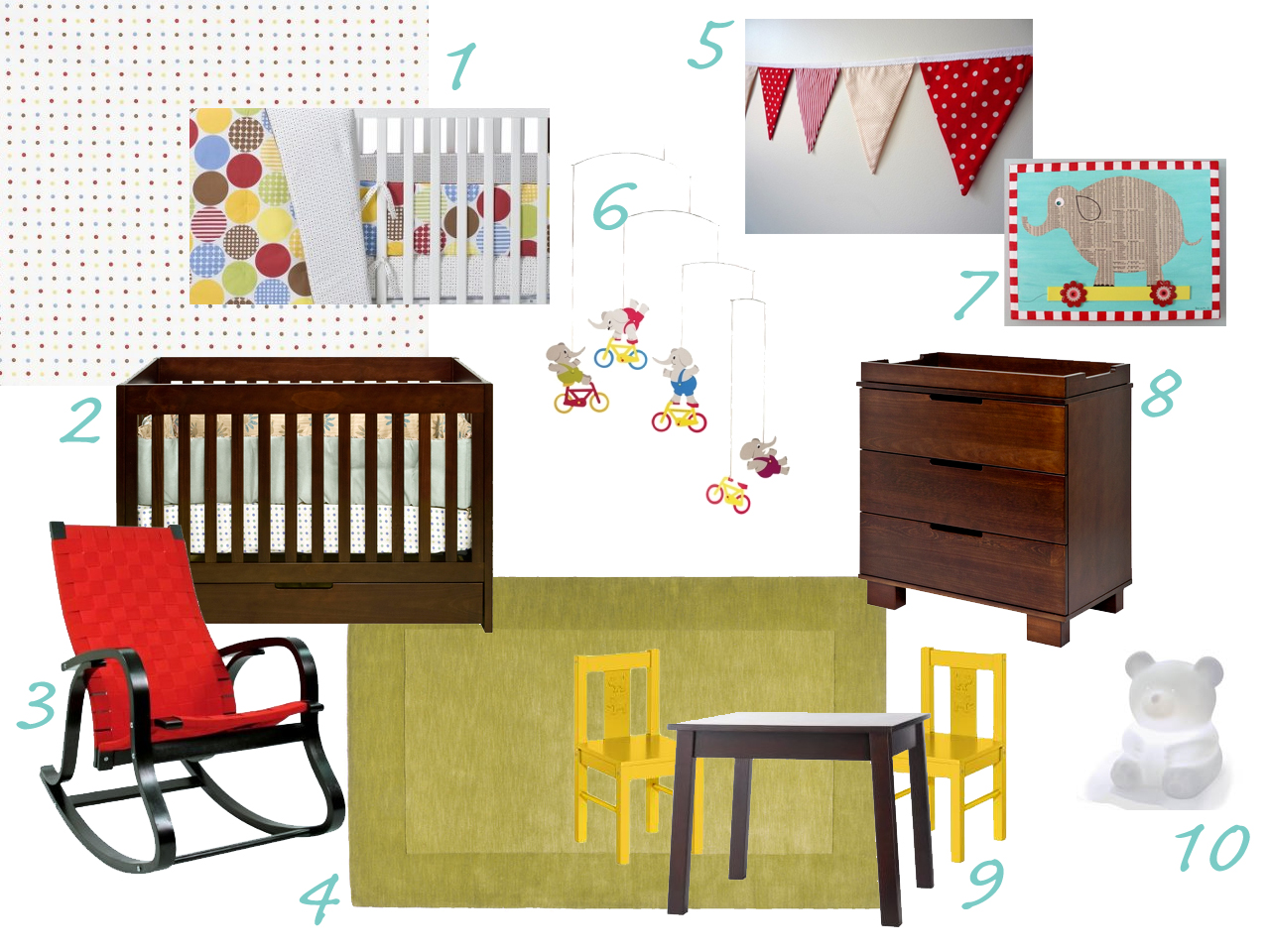 Modern Circus Nursery Design Board