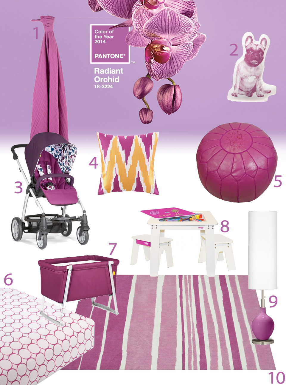 Radiant Orchid Color of the Year 2014 home and kids nursery