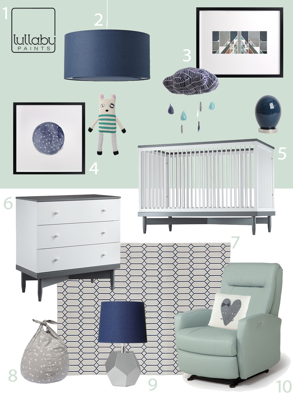 My Modern Nursery 71 Cool and Calm in Aqua and Navy