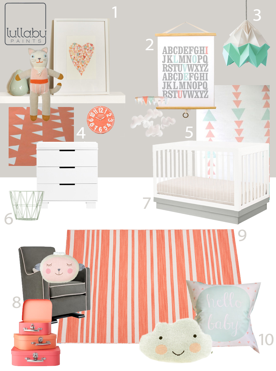 My Modern Nursery #77 Aqua and Coral from Lullaby Paints